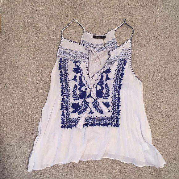 Tops - White and blue embroidered tank